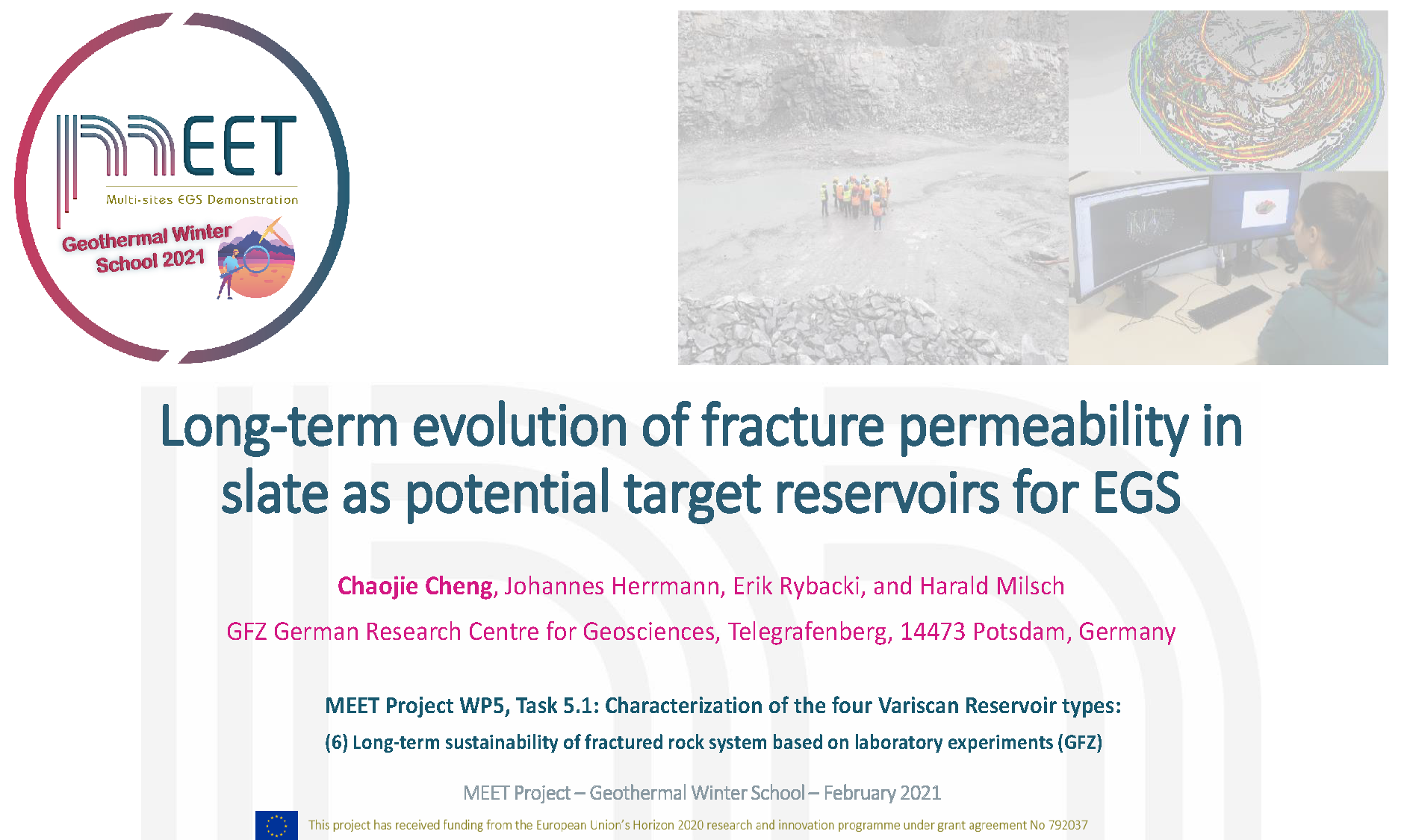 MEET Geothermal Winter School Chaojie Cheng first slide visual