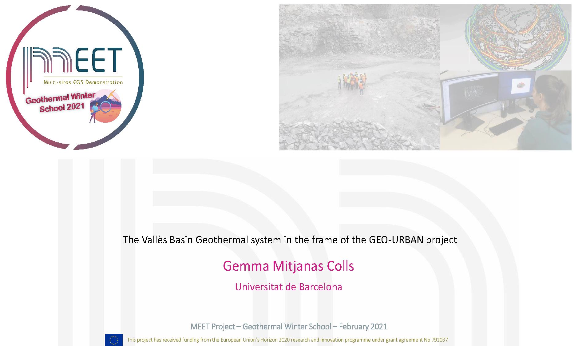 MEET Geothermal Winter School Gemma Mitjanas Colls first slide visual